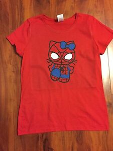 Hello kitty spiderman t shirt design for misses women ebay for Hello kitty t shirt design