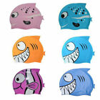 Silicone Kids Children Cute Swimming Cap Hat Fish Print Swimming Cap Swim Hat