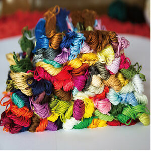 100x Mix Colors Cross Stitch Cotton Sewing Skeins Embroidery Thread Floss Kit US