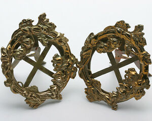 Vintage-Art-Nouveau-Brass-Picture-Frames-Flower-and-Vines-Set-of-2