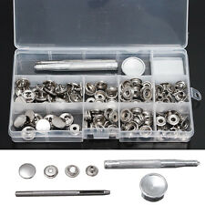 30 Set 15mm Heavy Duty Snap Fastener Popper Press Stud Button + Fixing Tool New