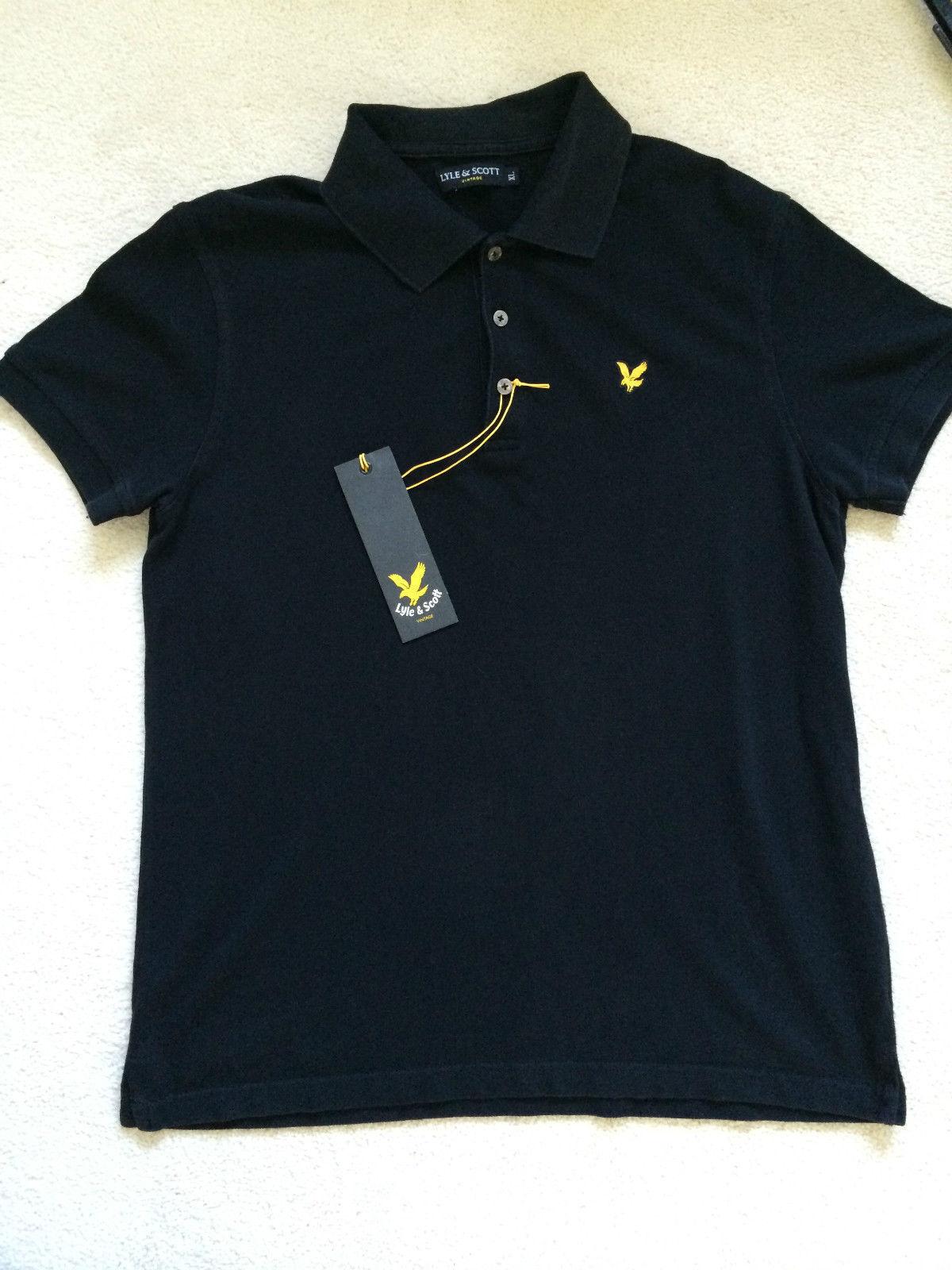 Lyle & Scott Vintage Da Uomo Polo Shirt Nera-Taglia  XL-slim
