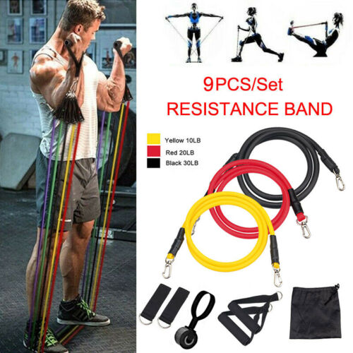 Strength Training Resistance Bands Home Workout Exercise Yoga Tube Set 10-30Lb