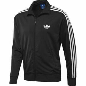 Details about Adidas Originals HOMBRE Firebird Chándal Top Negro Trébol  Logo Tallas S M L XL
