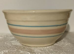 """McCoy Pottery Mixing Bowl Pink & Blue Bands USA 7"""" Oven Proof - Country Kitchen"""