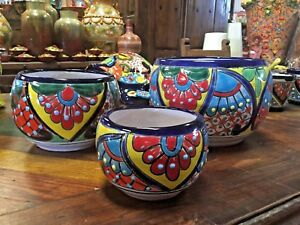 Image Is Loading Talavera Mexican Pottery Oval Set Of 3 Planters