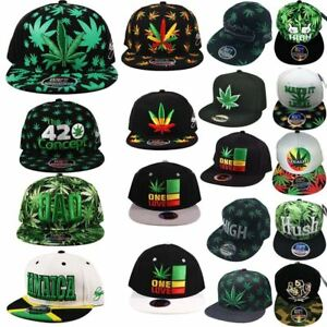 ba29b115495 Men s Weed Cannabis Jamaica Leaf Marijuana High Hip Hop Snapback Cap ...