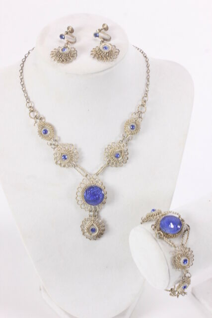 Old Twisted Wire Parure Jewelry Set Necklace Bracelet Earrings From Old Mexico