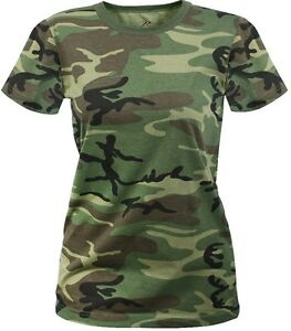 962582754e0d WOODLAND CAMO Ladies Women's Military Long Length Shirt Camouflage T ...