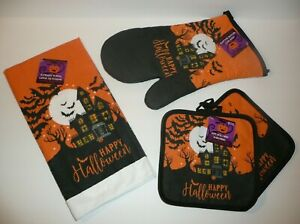 Haunted-House-Halloween-Decorative-Pot-Holders-Oven-Mitt-Kitchen-Towel-Set-Bats