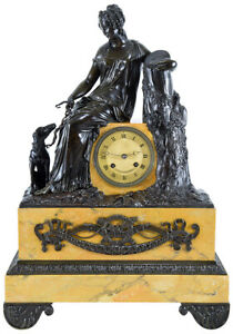 PENDULE DIANE. Kaminuhr Empire clock bronze horloge antique uhren cartel