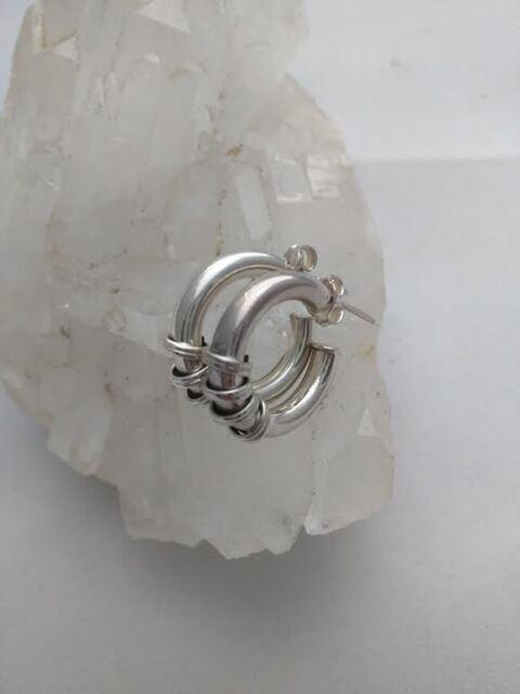925 Sterling Silver Hoop Earrings Bali Style Post