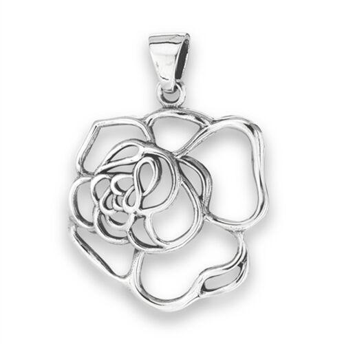Petal Rose Pendant 925 Sterling Silver Botanical Loop Flower Cutout Garden Charm