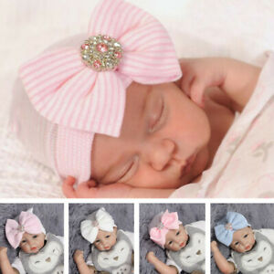 Adorable-Newborn-Infant-Baby-Girl-Hat-Nursery-Cap-With-Bow-Cap-Beanie-Hat-Turban