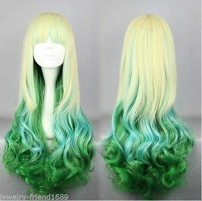 Cosplay LoLita Harajuku Blonde /Blue/ Green Curly Long Wig