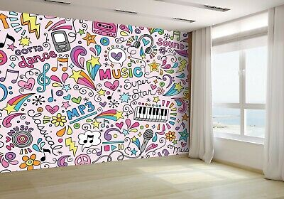 Cartoon Hand Drawn Doodles Music Wallpaper Mural Photo 50101524 budget paper