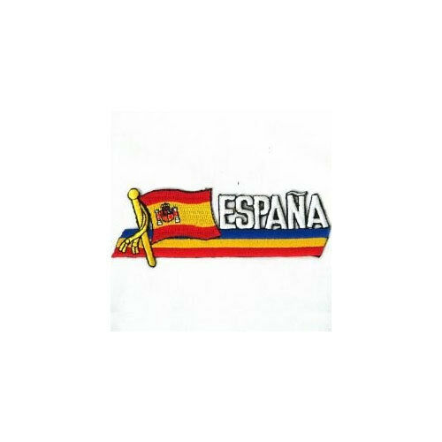 ESPANA SPAIN SIDEKICK WORD COUNTRY FLAG IRON-ON PATCH CREST BADGE 1.5 X 4.5 IN.