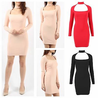 WOMEN LADIES LONG SLEEVE HIGH CHOKER NECK CUTOUT FRONT RIBBED BODYCON MINI DRESS