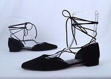 Stuart Weitzman Lace Up Flat- Black- Size 9.5 M  $525  (P45)