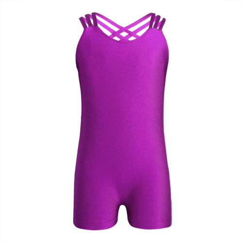 Kids Girls Gymnastics Ballet Tank Leotards Unitard Sports Gym Jumpsuit Dancewear