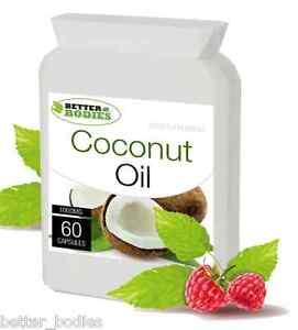 ORGANIC-olio-di-cocco-vergine-1000mg-60-CAPSULE-per-capelli-pelle-Organici-Rilascio-Veloce