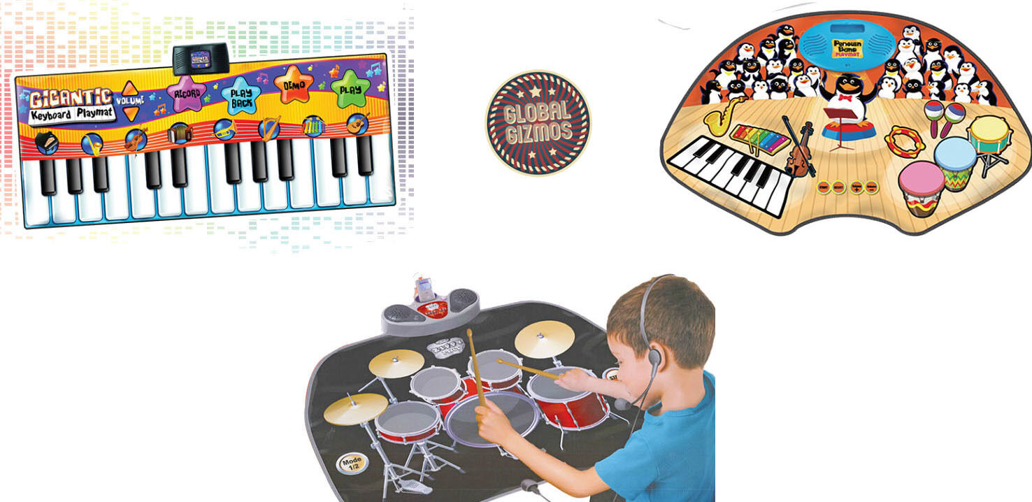 Giant Fun Musical Play Mats Piano Keyboard Penguin Orchestra Drum kit Dance