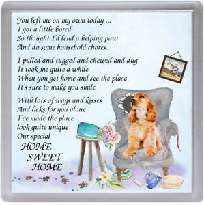 Cocker-Spaniel-Dog-Coaster-034-HOME-SWEET-HOME-Poem-034-Novelty-Gift-by-Starprint