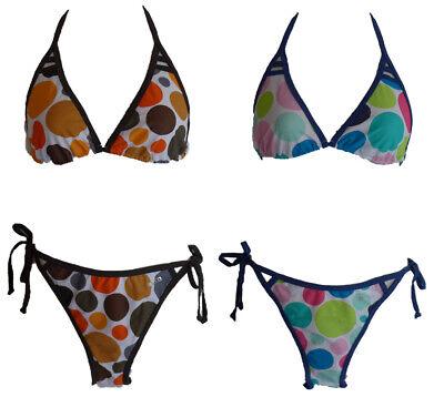 36 38 40 42 44 Cup B NEU Damen Sport Bikini Schwarz//Rot//Weiß gemustert Gr