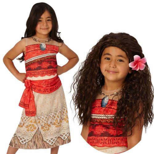 Girls Classic Moana Costume /& Wig Disney Princess Fancy Dress Book Day Outfit