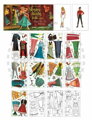 VINTAGE REPRINT SLEEPING BEAUTY PAPER DOLLS 1958 ONE-SHEET ONLY