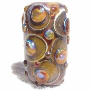 REDWOOD Handmade Art Glass Focal Bead Flaming Fools Lampwork Art Glass SRA