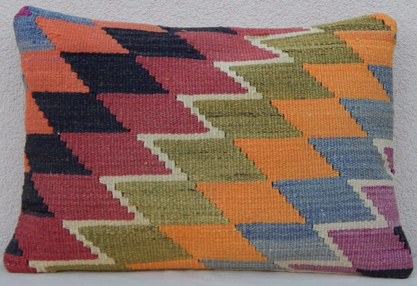14'' x 20'' Old Pale Kilim Rug Lumbar Throw Pillow Cover, Large Handmade Faded