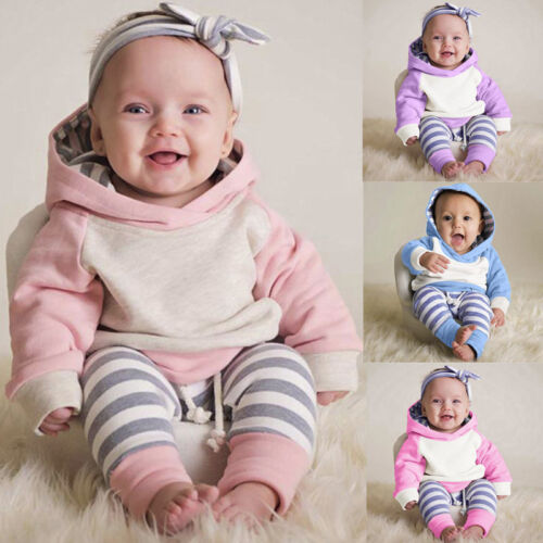 3PCS Newborn Toddler Baby Girls Outfits Clothes Hoodie Top+Pants+Headband Set G0