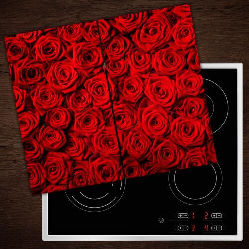 Herdabdeckplatten en verre anti-projections Roses Rouges 2x30x52 cm