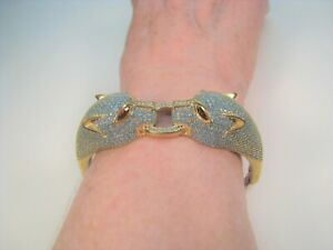LION-PANTHER-TURQUOISE-amp-SAPPHIRE-BRACELET-Bronze-amp-White-Gold-plated-925-Silver