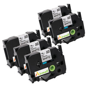 TZe241 Compatible for Brother P-Touch Label Tape TZ241 Black on White 3/4'' 5PK