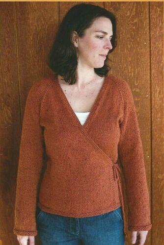 Neckdown Wrap Cardigan Sweater Knitting Pure /& Simple Pattern #263 S-2X 33-47