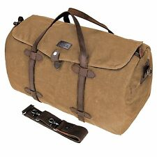 HIKA Waxed Canvas Leather Trim Weekend Bag Men Women Gym Duffel bag Travel Khaki