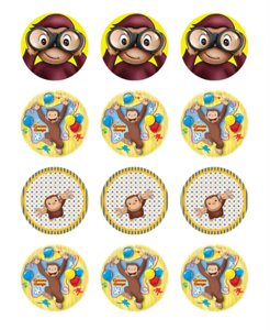 CURIOUS GEORGE 24 Edible Cupcake Toppers Wafer Paper ...
