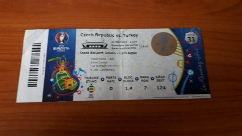 Sammler Ticket EURO 2016 Match 31 Czech Republic Türkei Turkey