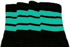 "22"" KNEE HIGH BLACK tube socks with AQUA stripes style 1 (22-152)"