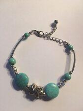 Turquoise Flat Tibetan Silver Beads Flower Clasp Chain Bracelet-B411