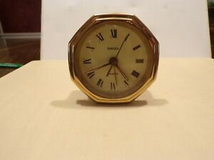 Vintage-Swiza-Swiss-made-brass-table-clock-working-alarm