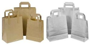 PAPER-CARRIER-BAGS-WHITE-BROWN-SOS-KRAFT-TAKEAWAY-FOOD-LUNCH-PARTY-WITH-HANDLES