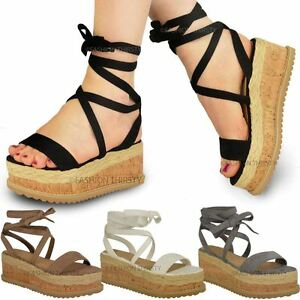 Womens Ladies Flatform Wedge Heel Lace UP Espadrille Ankle Strap Sandals Shoes Size B06Y6CCH5S