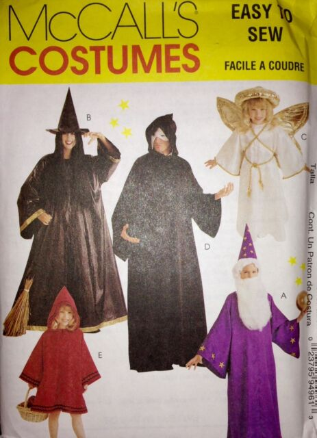 McCalls Sewing Pattern Costume 9496 Angel Witch Wizard Phantom Red ...