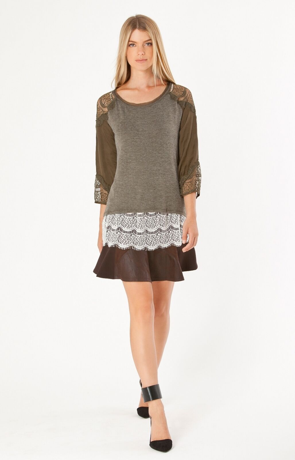 Hale Bob Mixed Media Fit And Flare Mini Skirt   Ultra Suede XS S NWT 4TFA4897