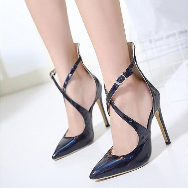 Decolte chaussures eleganti cinturino noir 11 cm stiletto pelle sintetica CW289