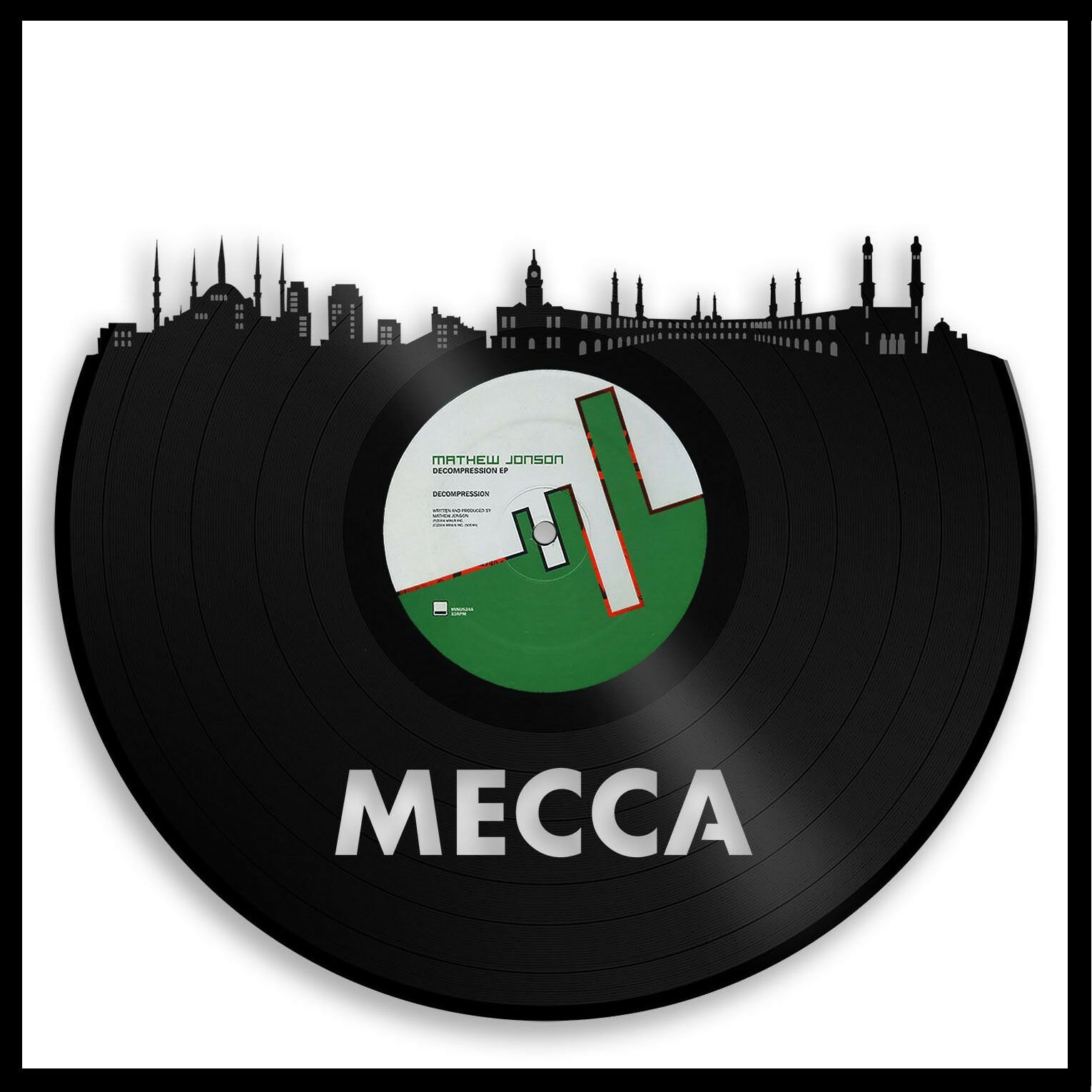 Mecca Vinyl Wall Art City Skyline Anniversary Unique Gift Home Room Decor Framed