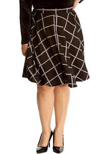 fe65c0c8158 Details about New Womens Plus Size Skirt Ladies Skater Check Tartan Print  Knee Long Elastic